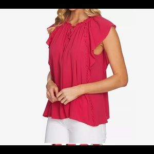 CeCe Pink Womens Size XL Keyhole Ruffled-Trim Top